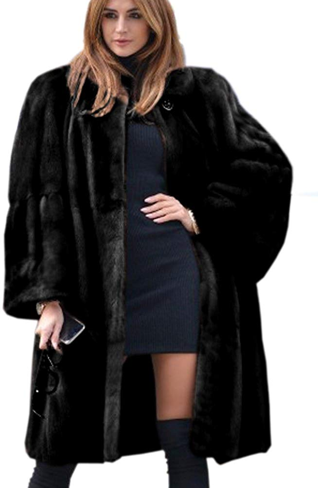 Luxury Faux Fur Parka Coat Long Lapel Trech Jacket Winter Outerwear Warm Overcoat Women Size S-XXXL