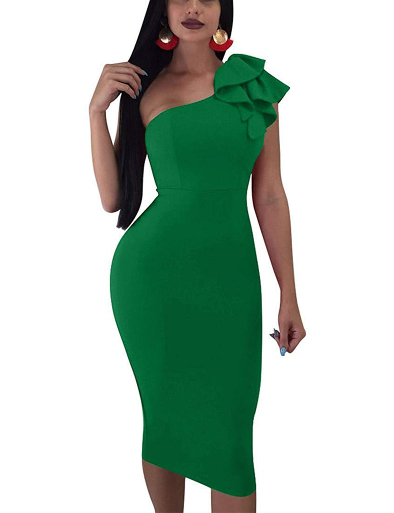 Women's Sexy Ruffle One Shoulder Sleeveless Bodycon Party Club Midi Dress