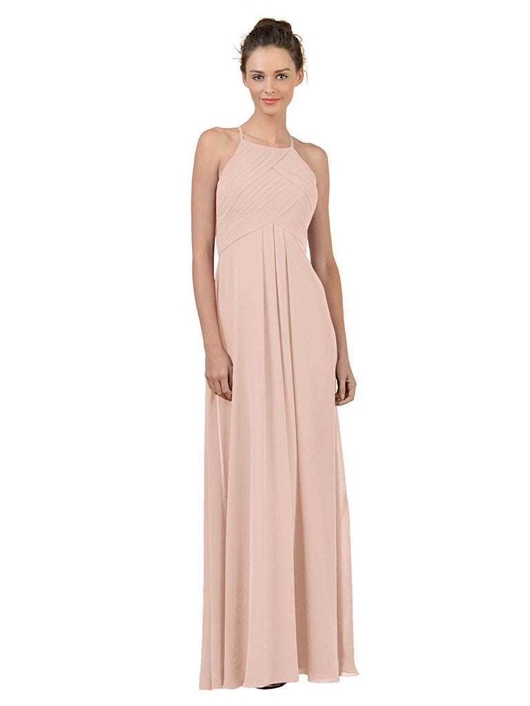High-neck Open Back Long Chiffon Bridesmaid Dress Maxi Evening Gown A Line Plus Party Dress