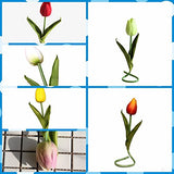 "Party Home Decoration(Vase not Include),30pcs Black 14"" Artificial Latex Tulips Flowers"