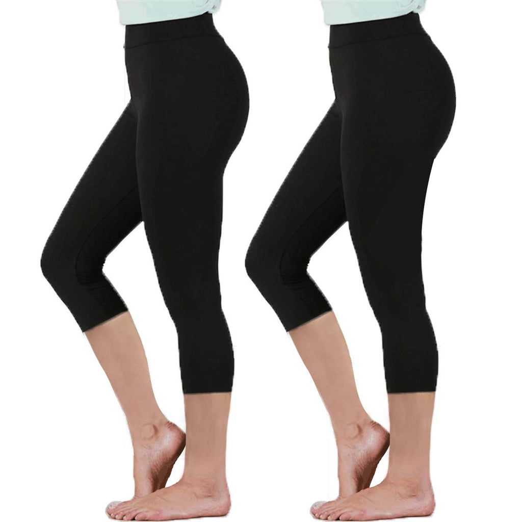 Womens Black High Waisted Leggings Pack Soft Slim Tummy Control Trousers Yoga Pants