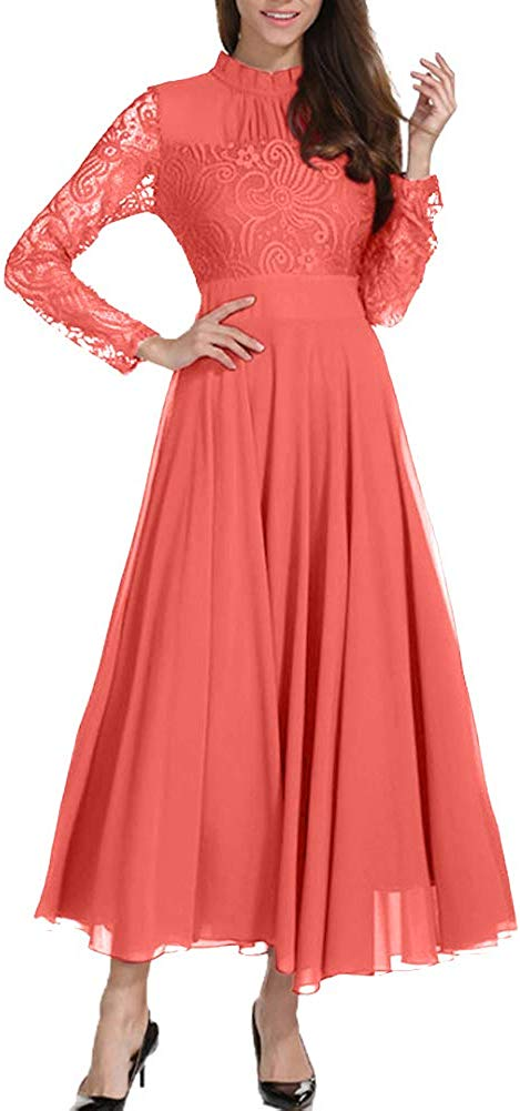 Women's Formal Floral Lace Chiffon Long Sleeve Ruched Neck Long Dress Evening Cocktail Party Maxi Dress