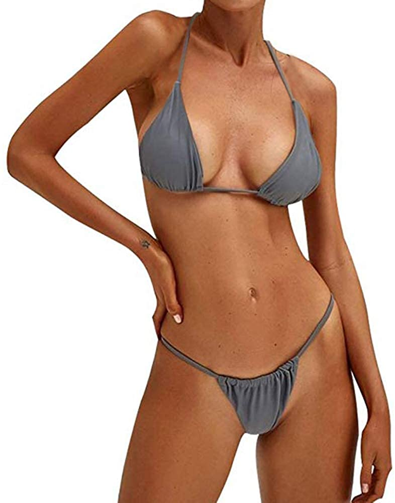Bandage Solid Brazilian Swimwear Two Pieces Swimsuit Padded Thong Bathing Suits Bikini Set