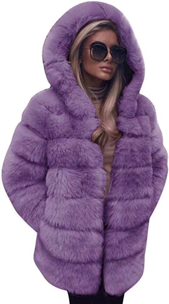 Women Jacket Womens Faux Fur Soft Warm Hooded Coat Outerwear Overcoat Long Jacket
