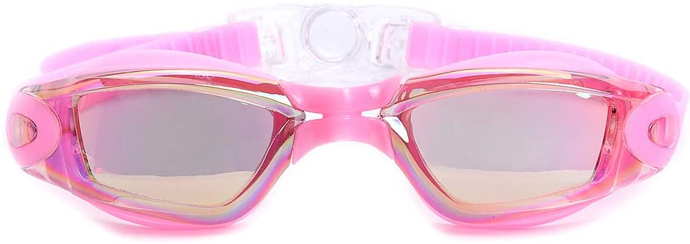 Swim Goggles, No Leaking Anti Fog Dive Mask with UV Protection Mirrored Clear Lenses for Kids Men Women