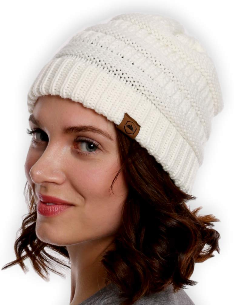 Tough Headwear Womens Cable Knit Beanie - Warm & Soft Stretch Winter Hats - Thick, Chunky & Soft Stretch Knitted Caps for Cold Weather - Stylish & Trendy Snow Beanies for Ladies
