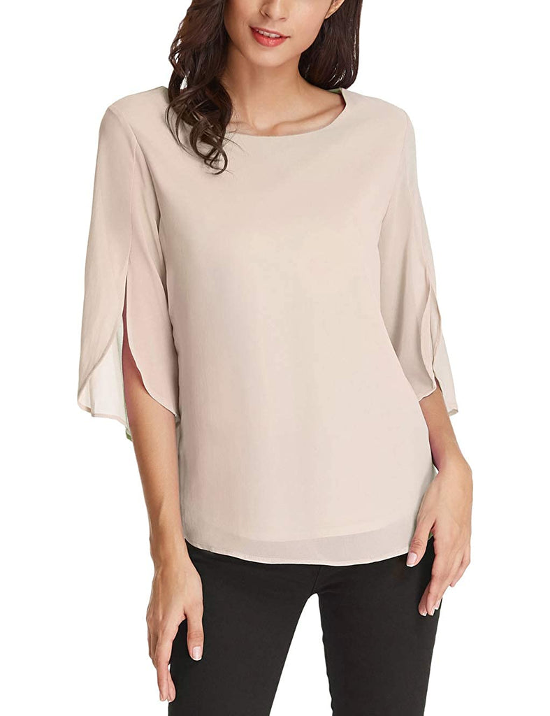 Women's Casual Chiffon Blouse Tops Half Ruffle Sleeve