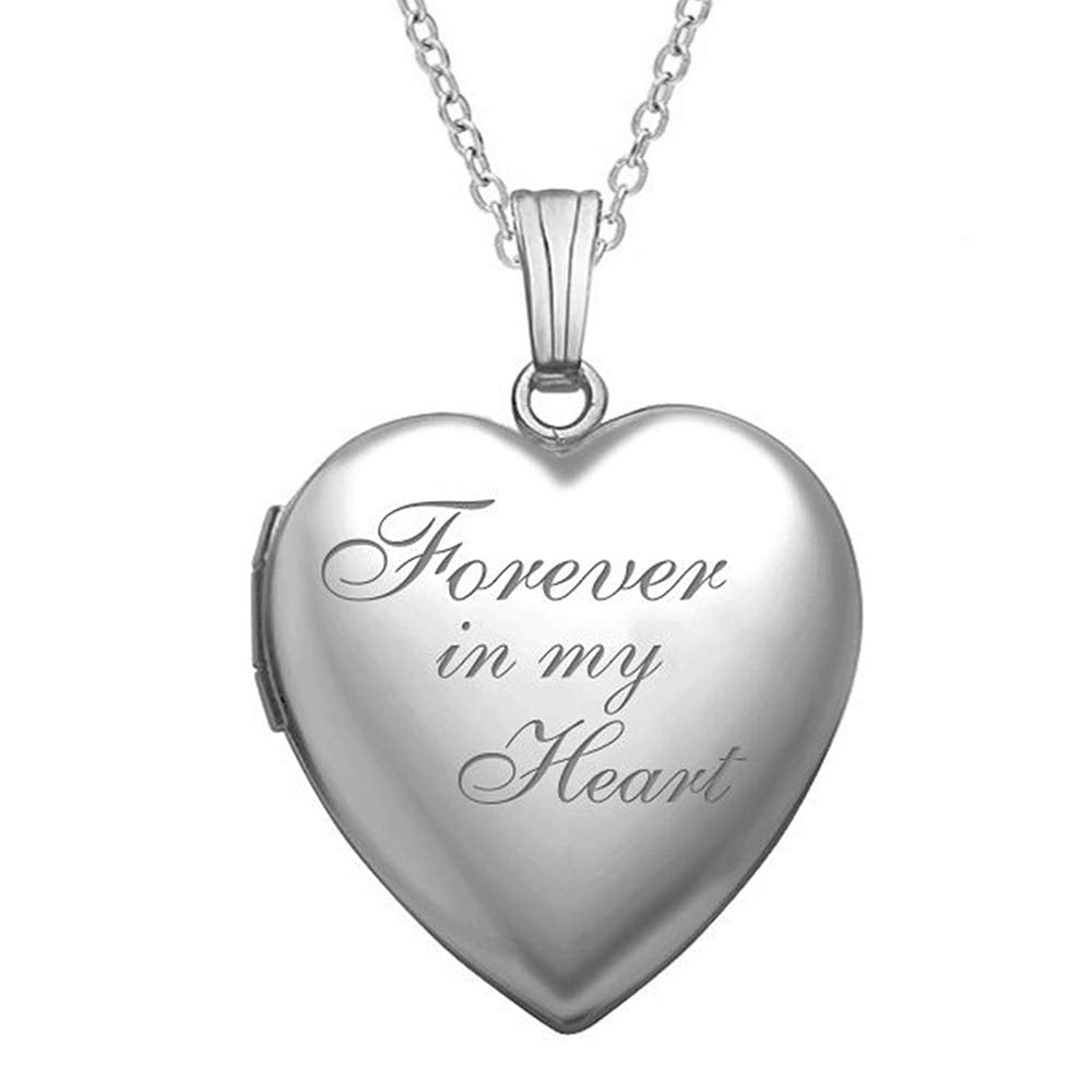"""Forever in My Heart"" Locket Necklace That Holds Pictures in Sterling Silver - 3/4 Inch X 3/4 Inch - Includes 18 inch Cable Chain"