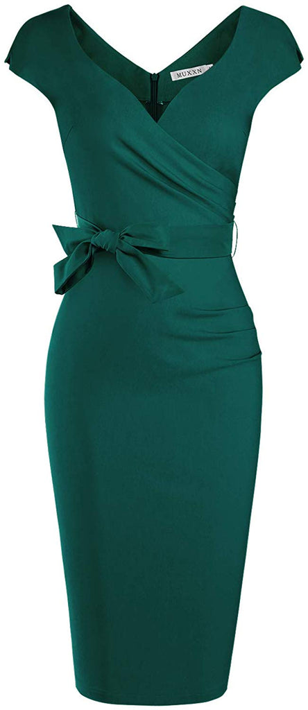 1950s Dress Women's Vintage Style Wrap V Neck Tie Waist Formal Cocktail Dress