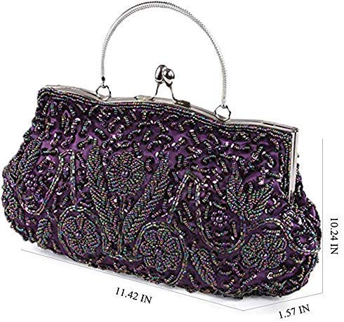 Beaded Sequin Flower Evening Purse Large Clutch Bag