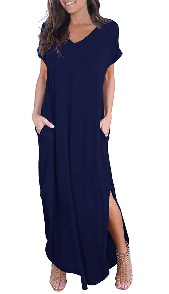 Women's Short Sleeve Split Maxi Dresses Casual Loose Pocket Long Dress
