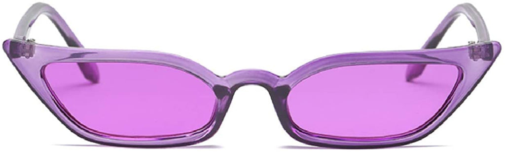 Small Frame Skinny Cat Eye Sunglasses for Women Colorful Lens Mini Narrow Square Retro Cateye Vintage Sunglasses