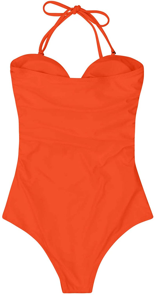 Womens Sexy Strapless Tie Knot Front High Waist One Piece Swimsuit