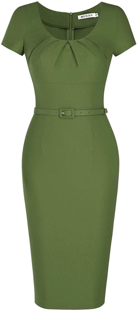 Women's 1950s Vintage Dress Short Sleeve Pleated Pencil Dress