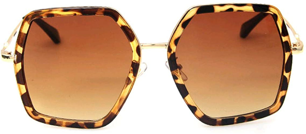 Oversized Square Sunglasses Women Vintage UV Protection?irregular Brand Designer Shades (Leopard)