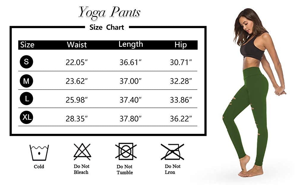 Womens High Waist Yoga Pants Cutout Ripped Tummy Control Workout Running Yoga Skinny Leggings