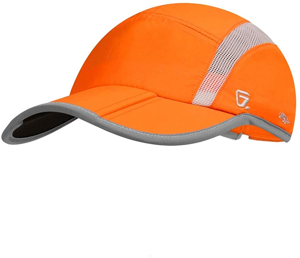 UPF 50+ Outdoor Hat Folding Reflective Running Cap Unstructured Sport Hats for Men & Women