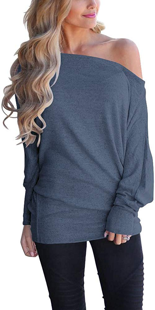 Off Shoulder Loose Pullover Sweater Batwing Sleeve Knit Jumper Oversized Tunics Top for women