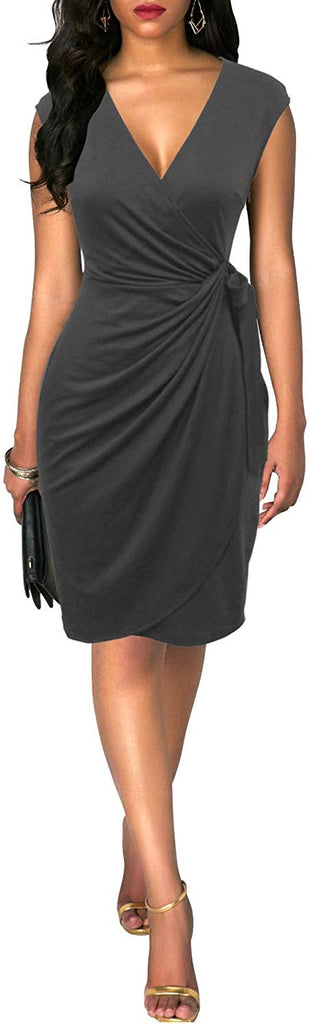 Vintage V-Neck Sheath Casual Party Work Faux Black Wrap Dress for weomen