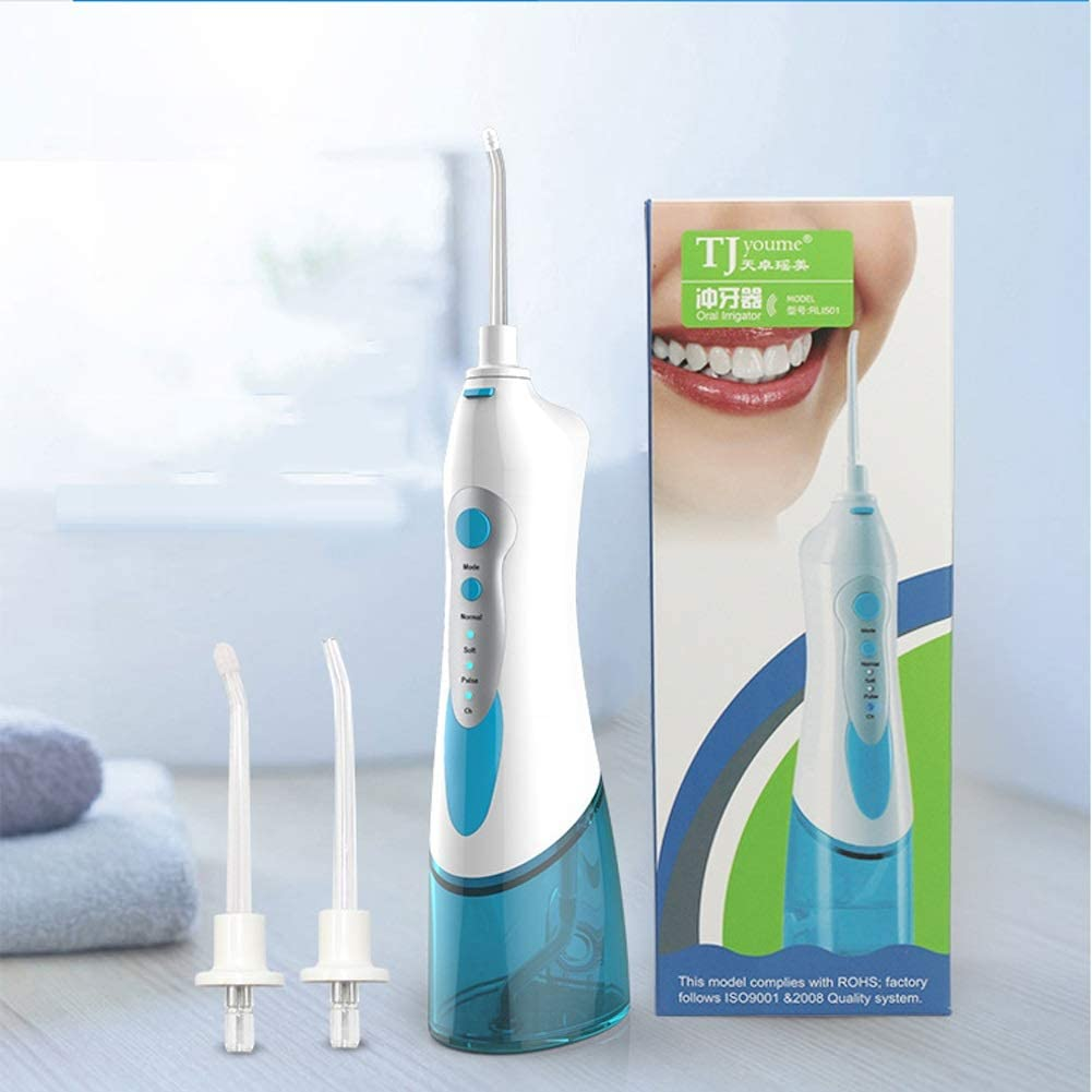 Water Floss Power Dental Flossers Cordless Oral Irrigator Rechargeable Ultra Dental Water Jet for Teeth Braces with Portable USB Charger 4 Jet Tips