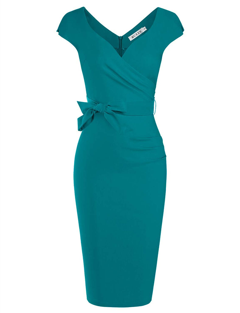 Women's Vintage 1950s Style Wrap V Neck Tie Waist Formal Cocktail Dress