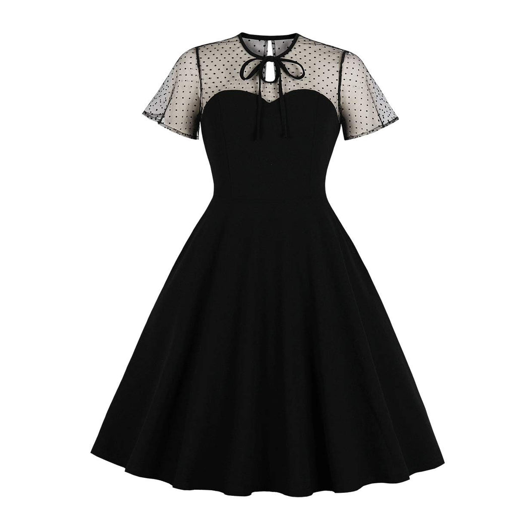Women's Polka Dots Embroidery Keyhole Tie Vintage Cocktail Dress