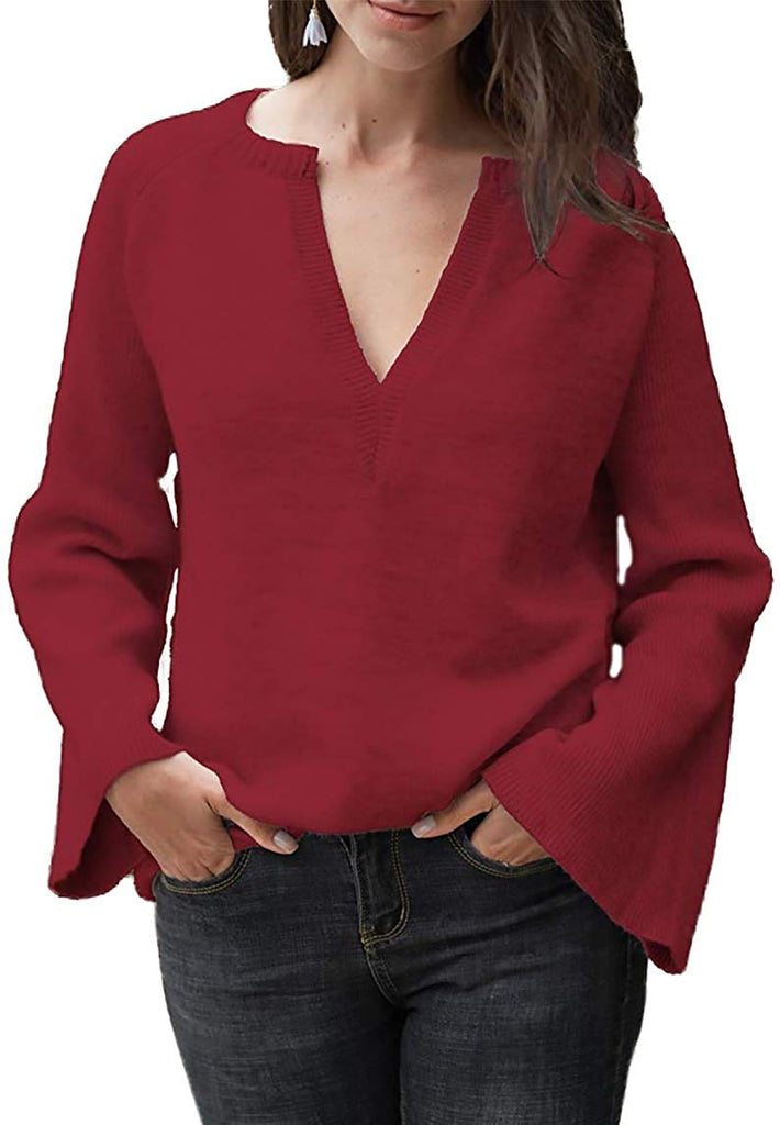 Women Long Sleeve Jumper 8 10 12 14 16 18 Knit STRETCH Burgundy Red Basic Casual