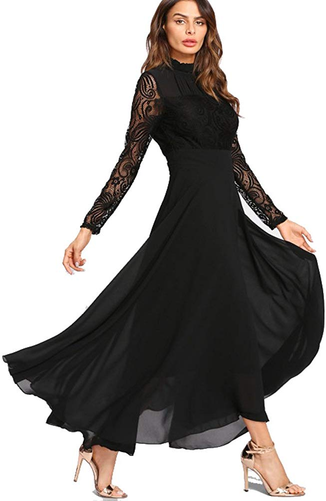 Formal Floral Lace Chiffon Long Sleeve Ruched Neck Long Dress Evening Cocktail Party Maxi Dress