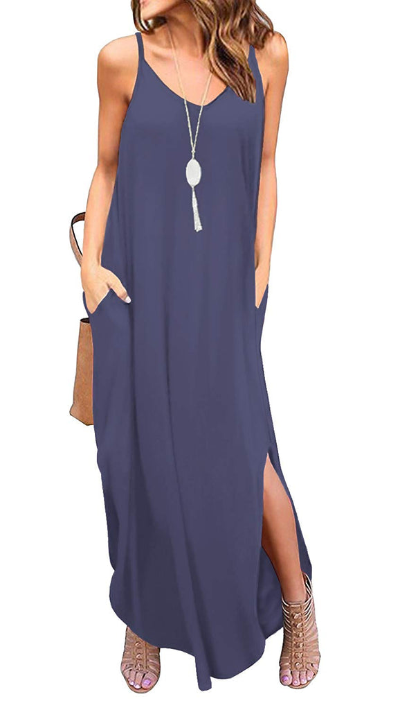 Women's Summer Casual Loose Dress Beach Cover Up Long Cami Maxi Dresses