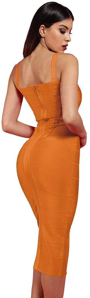 Women's Rayon Strap Celebrity Midi Evening Party Bandage Dress
