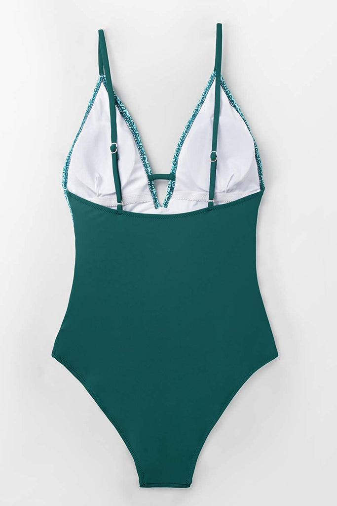 Women's Peacock Green Plunging One Piece Swimsuit Adjustable Swimwear