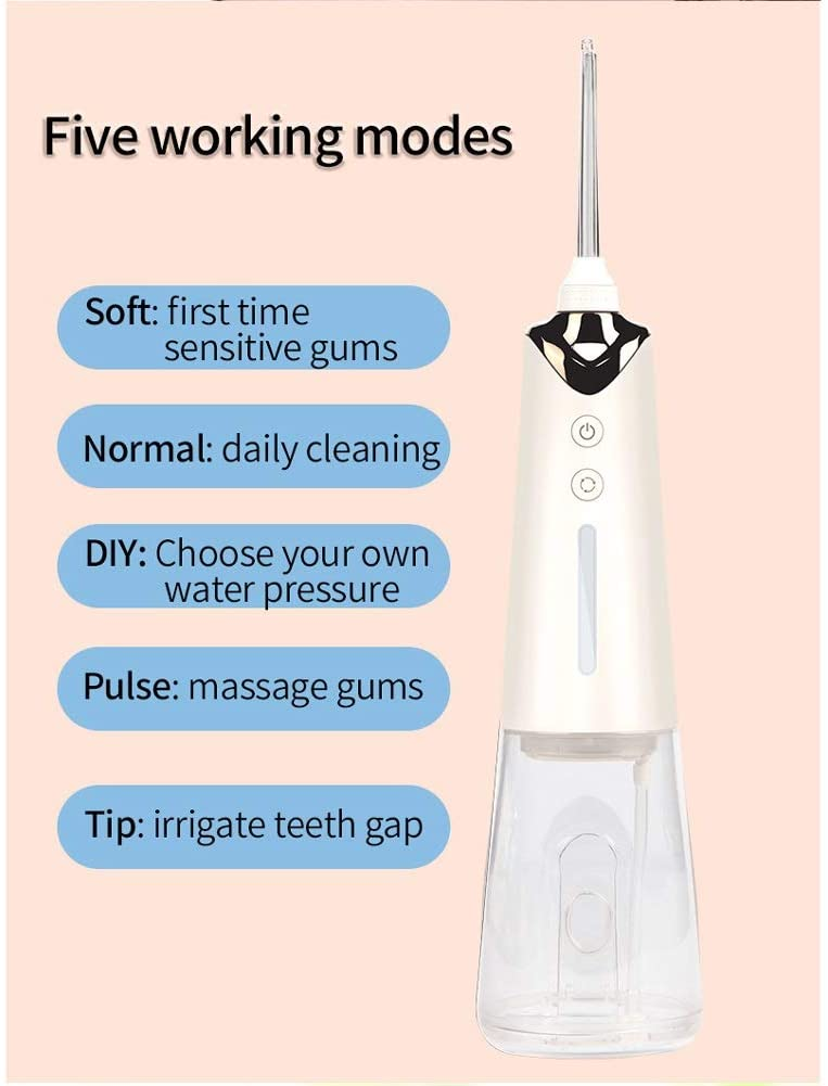 Water Floss Power Dental Flossers Professional Cordless Dental Oral Irrigator - Portable and Rechargeable IPX7 Waterproof Water Flossing for Teeth Cleaning