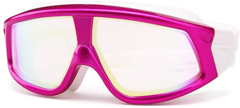 Big Large Frame Swim Goggles, Swimming Goggles Anti Fog No Leaking with UV Protection and Clear Lens Wide-Vision