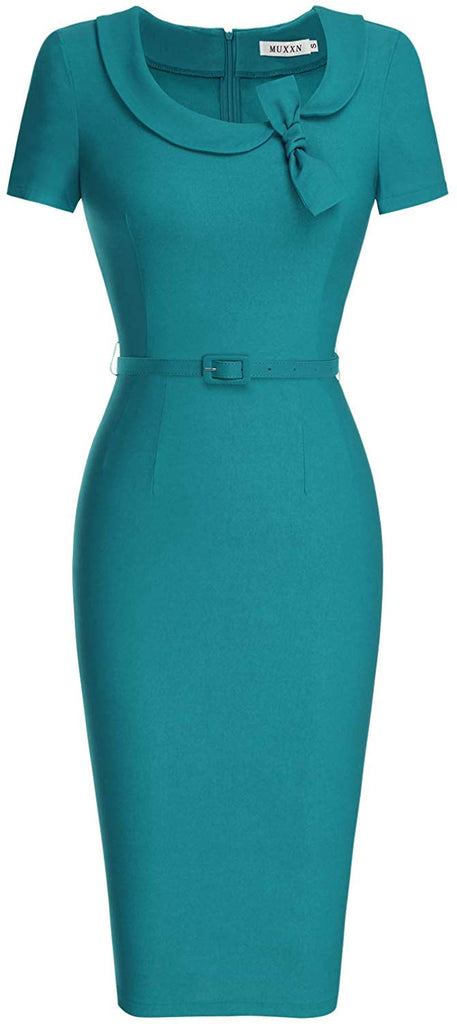 Women's Audrey Hepburn Style Short Sleeve Belt Waist Cocktail Tea Dress