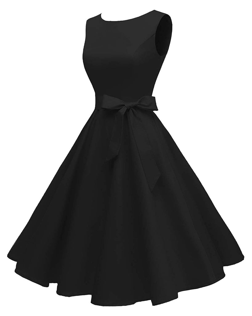 Sweetheart Neckline Women's Boatneck Sleeveless Swing Vintage 1950s Cocktail Dress