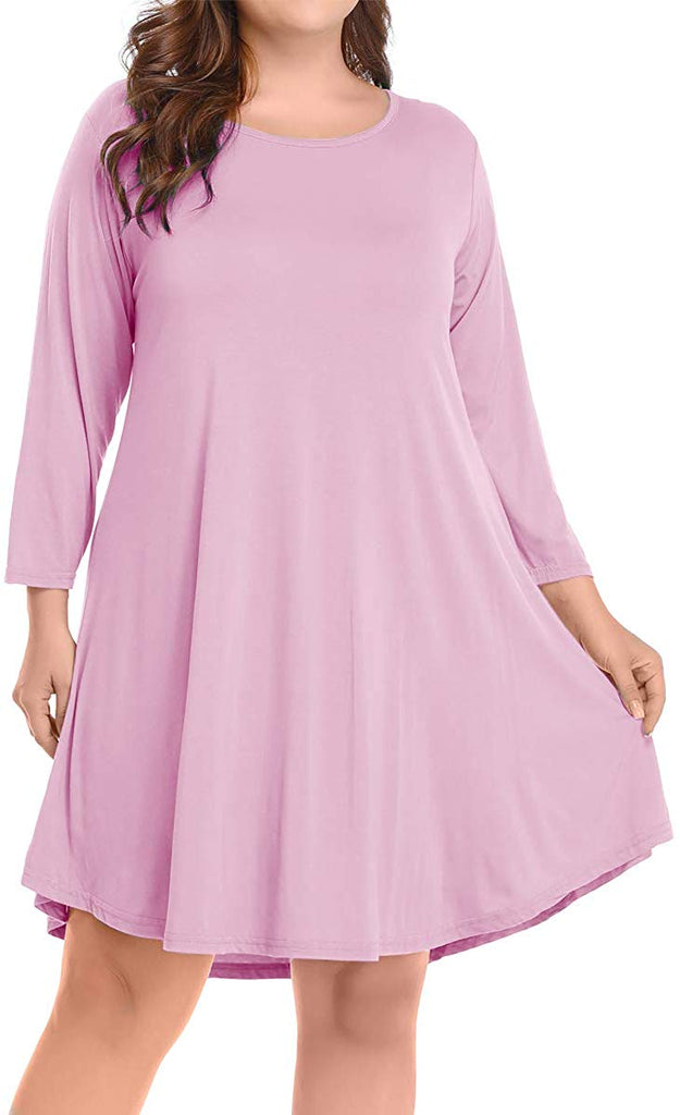 Women's Casual Flare Plain Simple 3/4 Sleeve T-Shirt Loose Dress