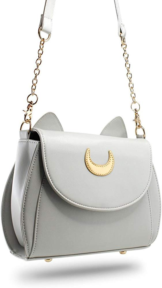 Moon Luna Purse Kitty Cat satchel shoulder Bag Designer Women Handbag Tote PU Leather Sailor School