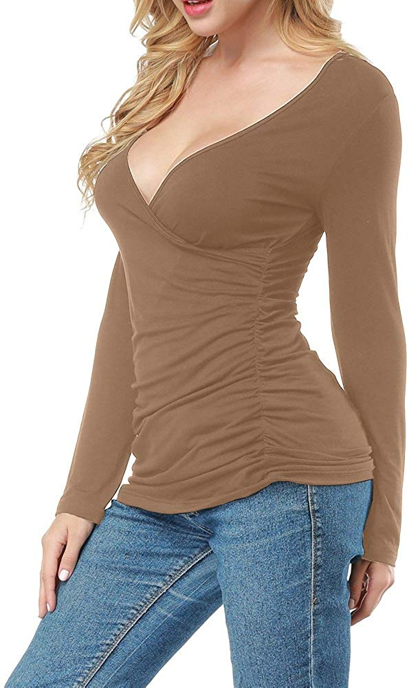 Women Open V Front Wrap Pleated Slim Top Tee Long Sleeve Ruched T Shirt
