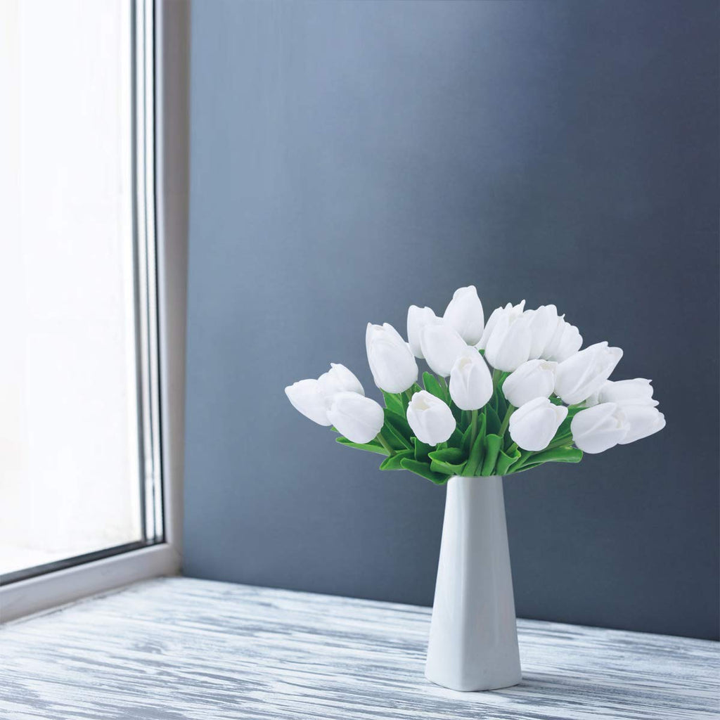 Artificial Tulip Fake Holland Mini Tulip Real Touch Flowers 24 Pcs for Wedding Decor DIY Home Party (Blue)