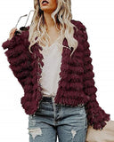 Womens Open Front Cardigan Faux Fur Coat Vintage Parka Shaggy Jacket Warm Coat Tops