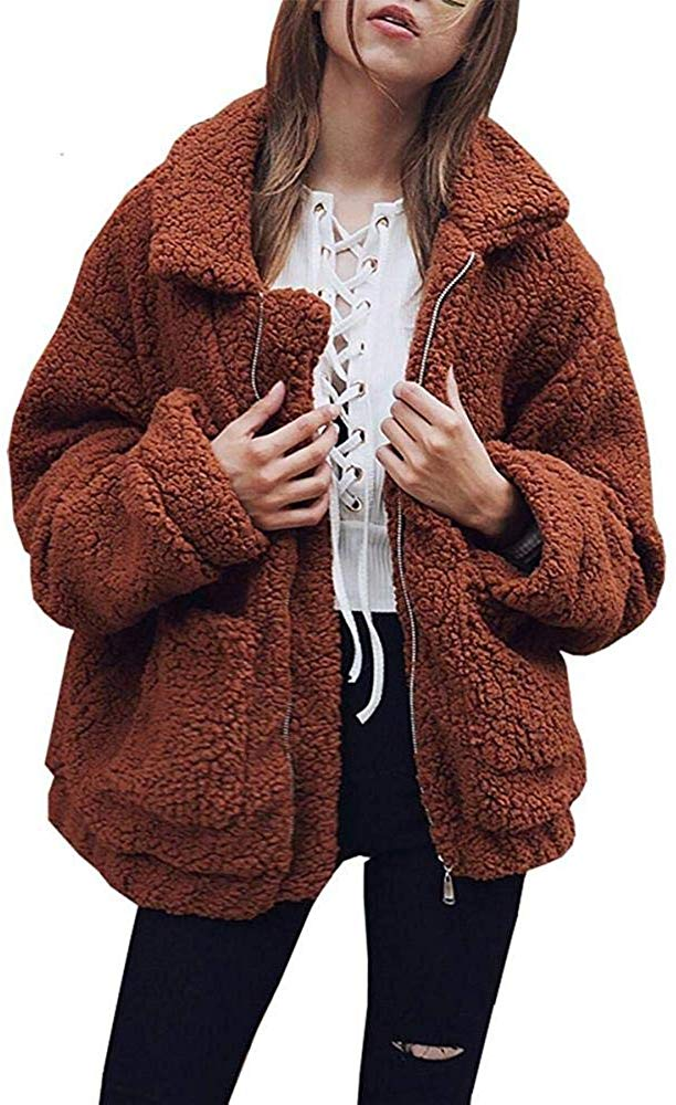 Women's Faux Fur Jacket Shaggy Jacket Winter Fleece Coat Outwear Shaggy Shearling Jacket