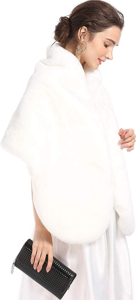 Women Faux Fur Wedding Wrap Shawl Long Cape Bridal Wraps and Shrugs for Winter Wedding Evening Party