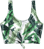 Women's Scoop Neck Tropical Leaf Knotted Two Pieces Tankini Set Swimsuit