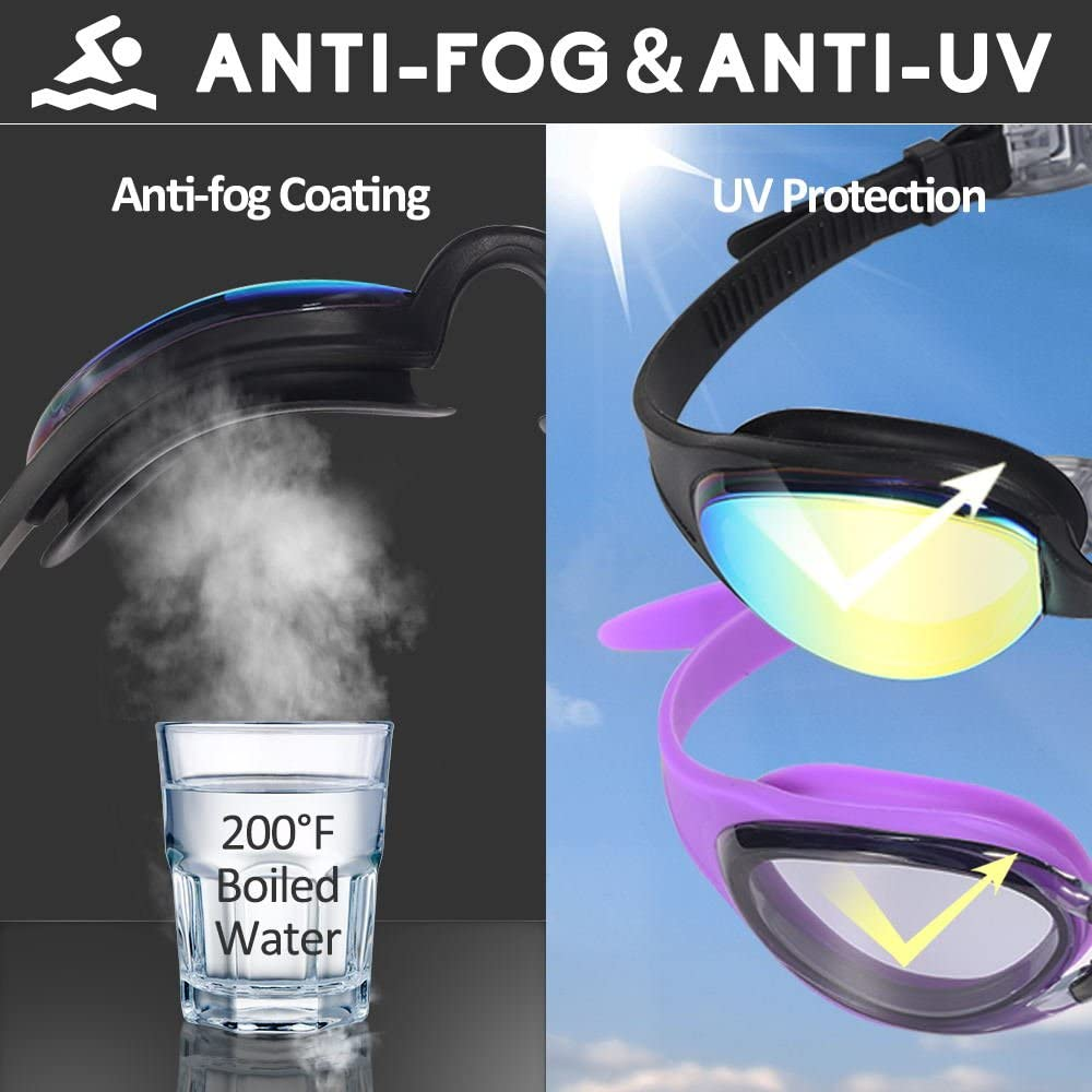 Swim Goggles, Pack of 2 Swimming Goggles, Anti Fog UV Protection Streamline Design, Soft Nose Piece, 180 Degree Vision