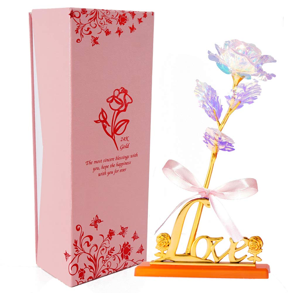 24K Gold Rose Artificial Forever Flowers with Heart-Shaped Stand Best Gifts for Friend Girl Wife Women Her for Valentine's Day