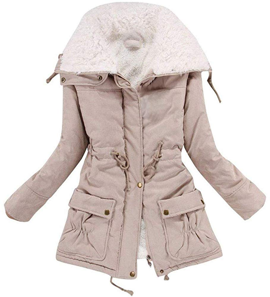Women's Winter Warm Faux Lamb Wool Coat Parka Cotton Outwear Jacket