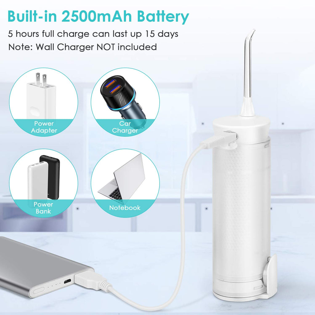 Water Flosser H2oflossTeeth Pick,High Pulse Rechargable Portable Oral Irrigator IPX7 Waterproof With 5 Interchangeable Jet Tips