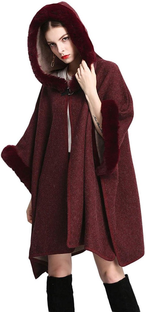 Women's Batwing Faux Fur Hooded Cloak Poncho Cape