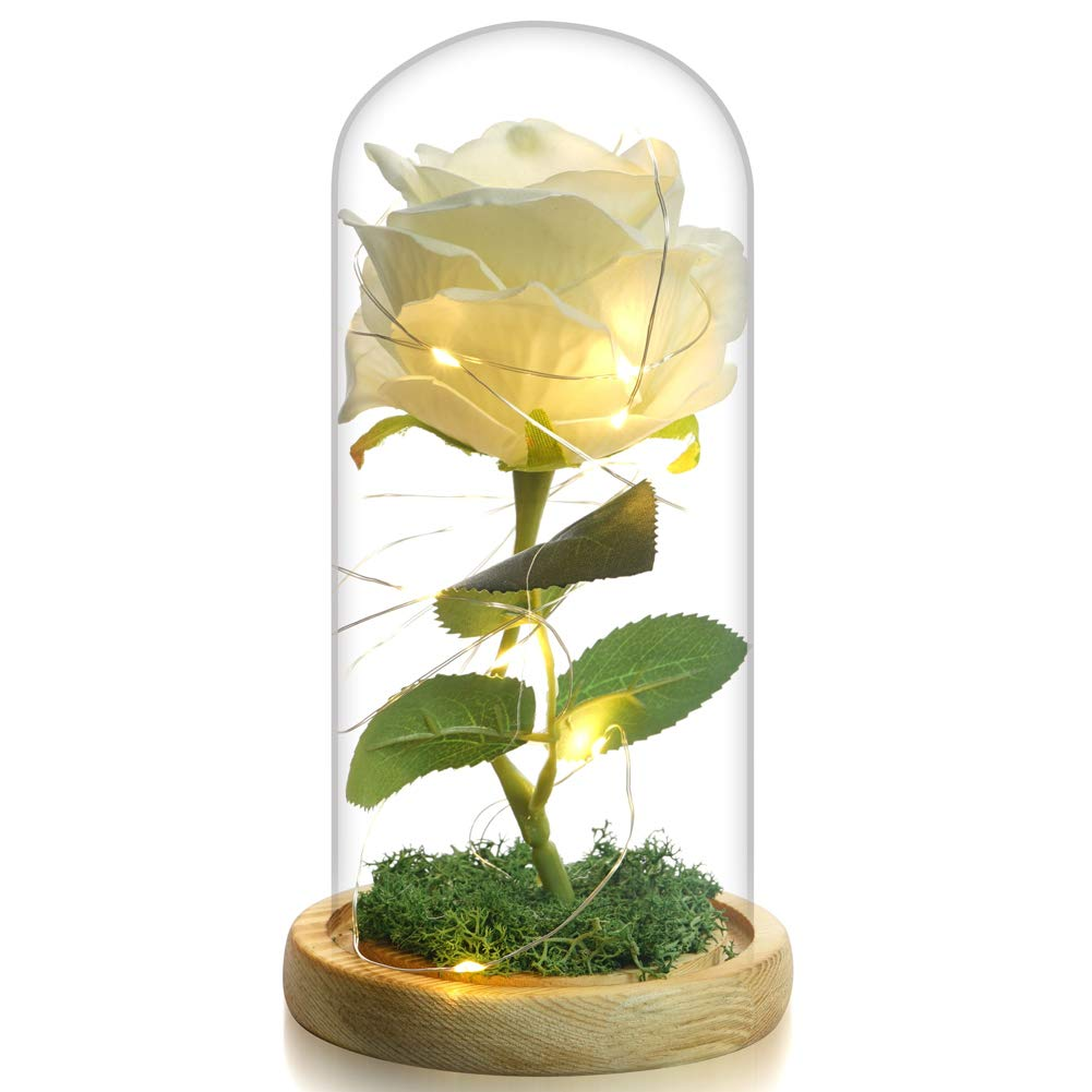 Beauty The Beast Rose Enchanted Flower with LED Light in Glass Dome for Christmas Valentine's Day Mother's Day Birthday