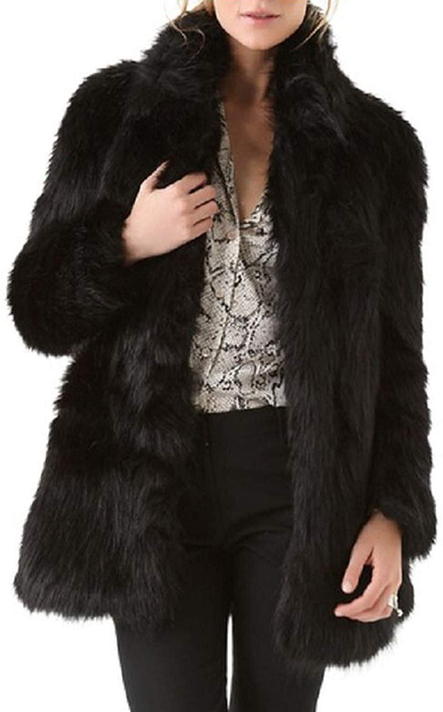 Women's Casual Stand Collar Long Sleeve Outerwear Faux Fur Jacket Coats